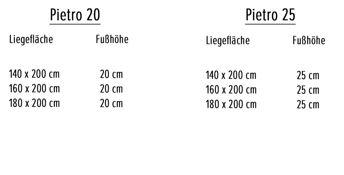 Variantenauswahl Massivholzbett Pietro