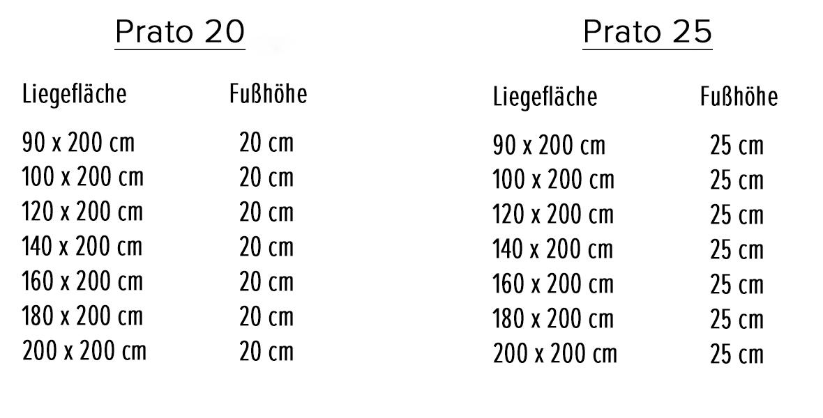 Variantenauswahl Massivholzbett Prato
