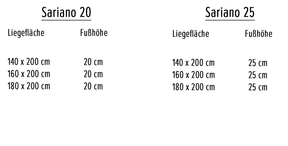 Variantenauswahl Massivholzbett Sariano