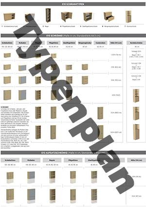 Typenplan eRange, E10 - Typenplan - Regale, Schränke & Aufsatzschränke