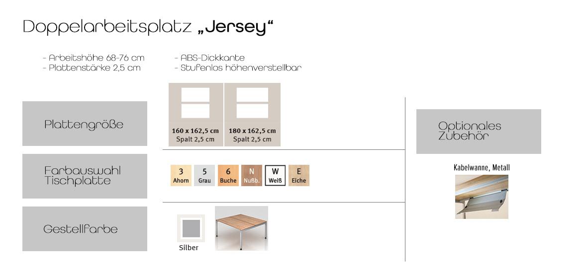 Doppelarbeitsplatz Jersey – Möbel von Hammerbacher