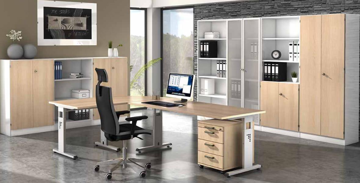 Büromöbel – Büromöbelprogramm Oakland – Komplettbüro der Serie Oakland online kaufen – Möbel von Hammerbacher ✓