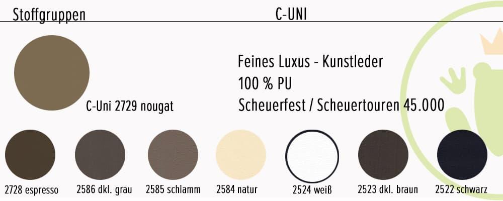 Ecksofa Genua: Farbvarianten und Stoffinformationen