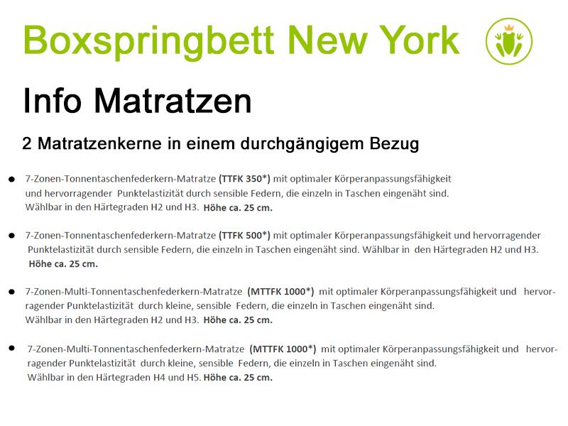 New York, Boxspringbett, Variantenauswahl Obermatratze