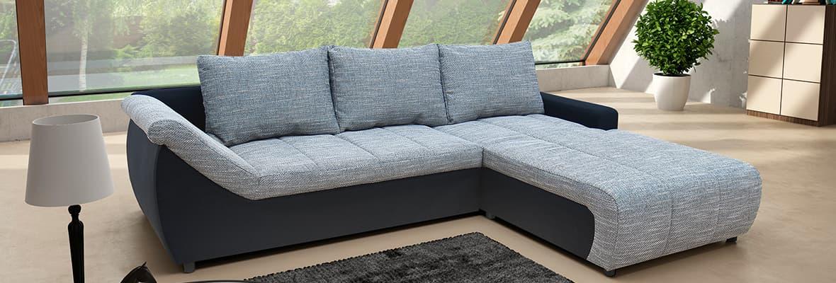 Flexibilität auf höchstem Niveau bieten die Eckcouchen Novara, diese werden inklusive Schlaffunktion und Bettkasten geliefert.