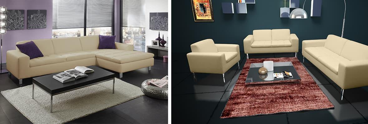 Imola Polstermöbel für alle, als Garnitur oder Ecksofa für ein modernes Wohnzimmer.