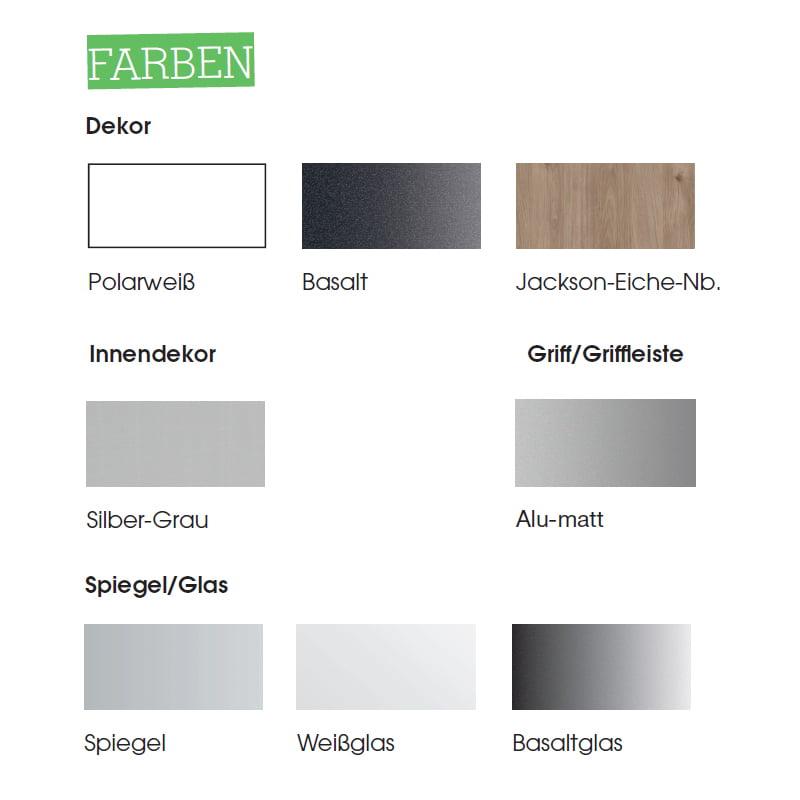 Farbenauswahl der Kleiderschrank-Serie Swift