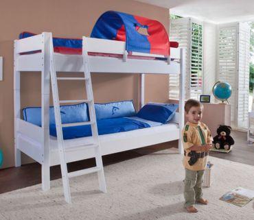 Etagenbett STEFAN Hochbett Stockbett Kinderzimmer Weiß Stoffset Blau/Rot