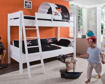 Etagenbett STEFAN Hochbett Stockbett Kinderzimmer Weiß Stoffset Pirat