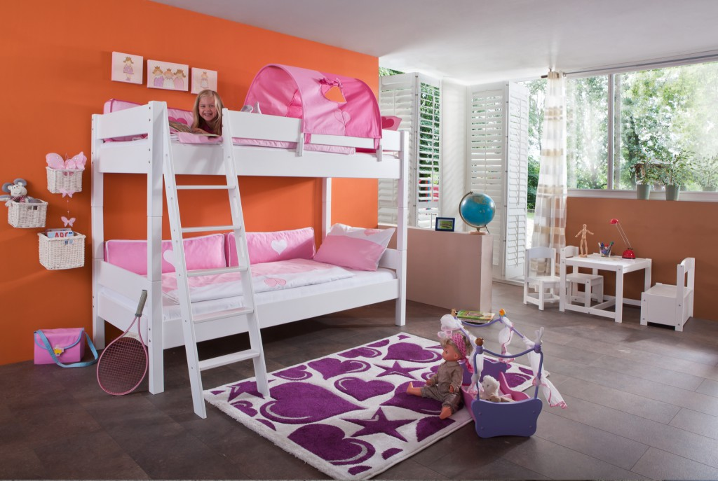 etagenbett stefan hochbett stockbett kinderzimmer wei stoffset pink rosa kids teens betten. Black Bedroom Furniture Sets. Home Design Ideas