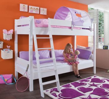 Etagenbett STEFAN Hochbett Stockbett Kinderzimmer Weiß Stoffset Lila/Weiß