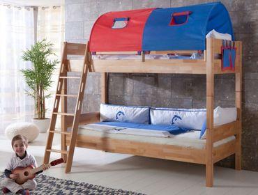 Etagenbett STEFAN Hochbett Stockbett Kinderzimmer Buche Stoffset Blau/Rot