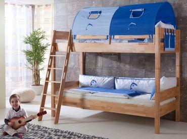 Etagenbett STEFAN Hochbett Stockbett Kinderzimmer Buche Stoffset Blau/Delfin