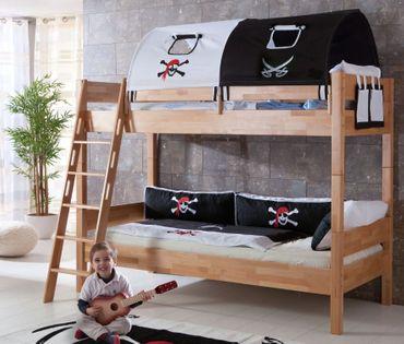 Etagenbett STEFAN Hochbett Stockbett Kinderzimmer Buche Stoffset Pirat