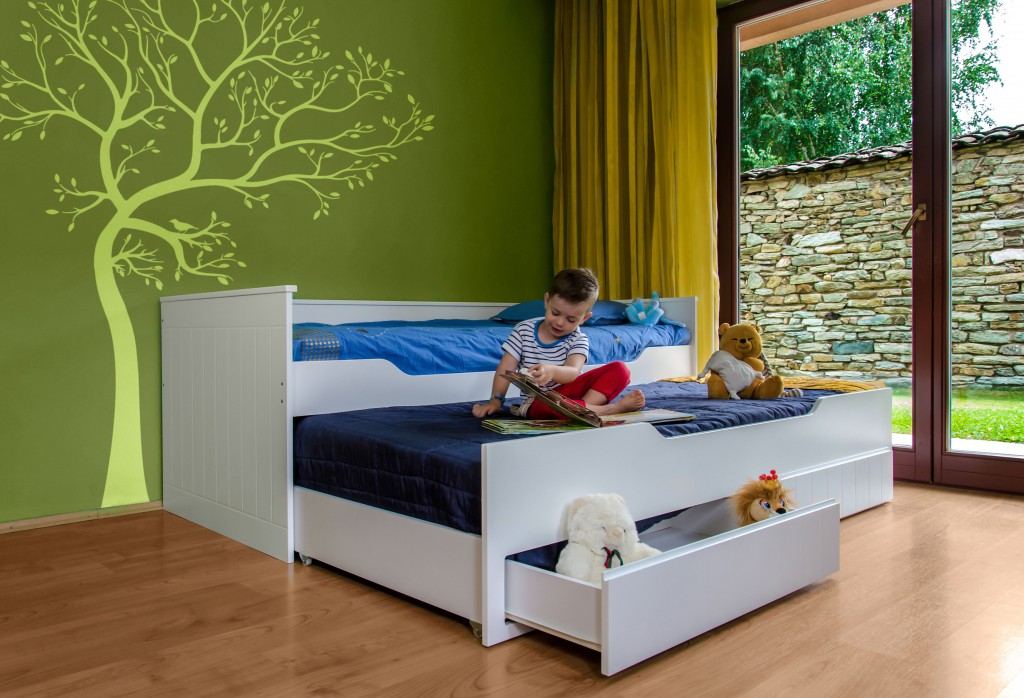 Multifunktionsbett ronny kinderbett kinderzimmer bett wei for Kinderzimmer mit 2 betten