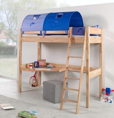 Hochbett RENATE Multifunktionsbett mit Schreibtisch Bett Buche Stoffset Blau/Delfin