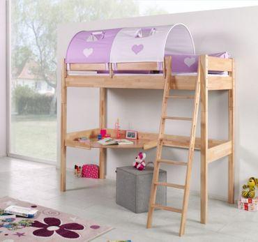 Hochbett RENATE Multifunktionsbett mit Schreibtisch Bett Buche Stoffset Lila/Weiß
