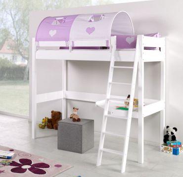 Hochbett RENATE Multifunktionsbett mit Schreibtisch Bett Weiß Stoffset Lila/Weiß