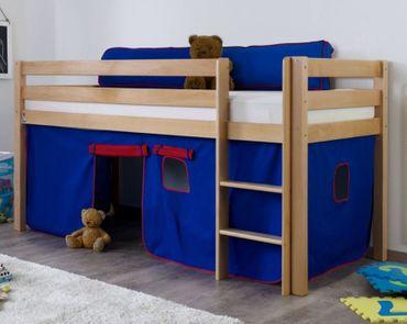 Hochbett ALEX Kinderbett Spielbett Bett Natur Stoffset Blau/Rot
