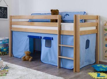 Hochbett ALEX Kinderbett Spielbett Bett Natur Stoffset Blau/Delfin