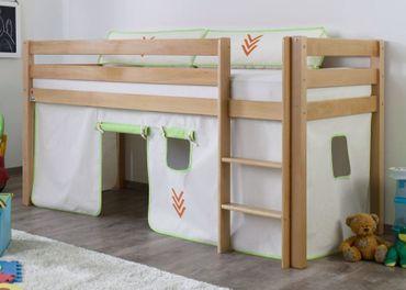 Hochbett ALEX Kinderbett Spielbett Bett Natur Stoffset Indianer – Bild 1