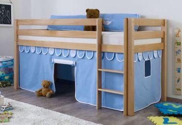 Hochbett ALEX Kinderbett Spielbett Bett Natur Stoffset Blau/Boy