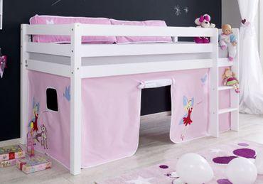 Hochbett ALEX Kinderbett Spielbett Bett Weiß Stoffset Prinzessin