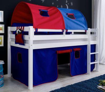 Hochbett ALEX Kinderbett Spielbett Bett Weiß Stoffset Blau/Rot