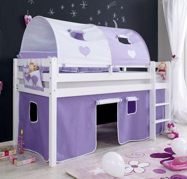 Hochbett ALEX Kinderbett Spielbett Bett Weiß Stoffset Lila/Weiß
