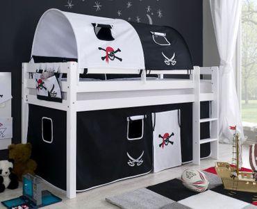 Hochbett ALEX Kinderbett Spielbett Bett Weiß Stoffset Pirat