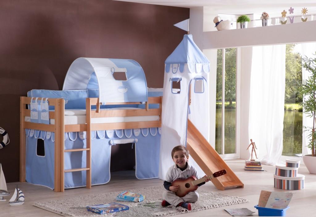 hochbett alex kinderbett mit rutsche spielbett bett natur stoffset blau boy kids teens betten. Black Bedroom Furniture Sets. Home Design Ideas