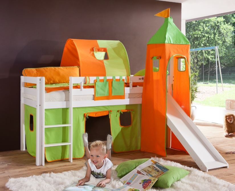 hochbett alex kinderbett mit rutsche spielbett bett wei stoffset gr n orange kids teens. Black Bedroom Furniture Sets. Home Design Ideas