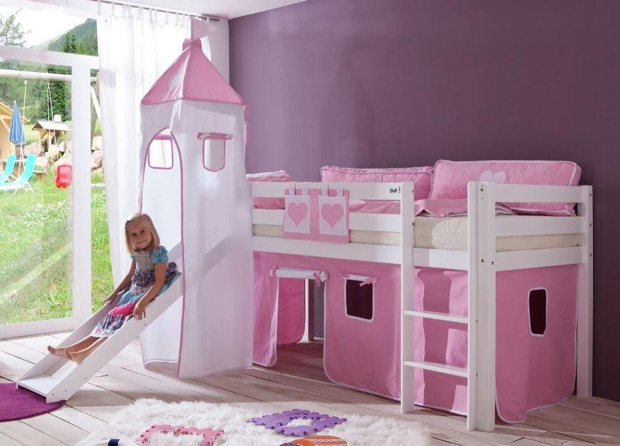 Etagenbett Weiss Mit Rutsche : Kinderbett etagenbett jonas buche vollholz massiv weiß lackiert