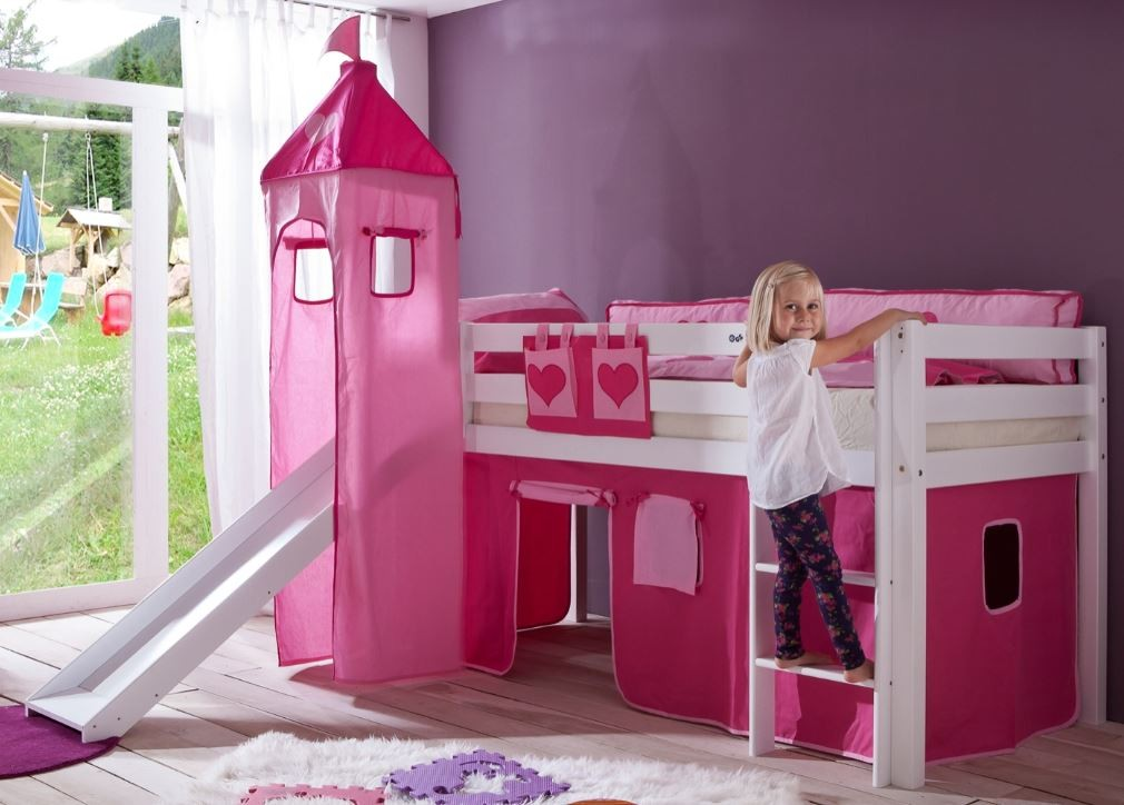 hochbett alex kinderbett mit rutsche spielbett bett wei stoffset pink herz kids teens betten. Black Bedroom Furniture Sets. Home Design Ideas