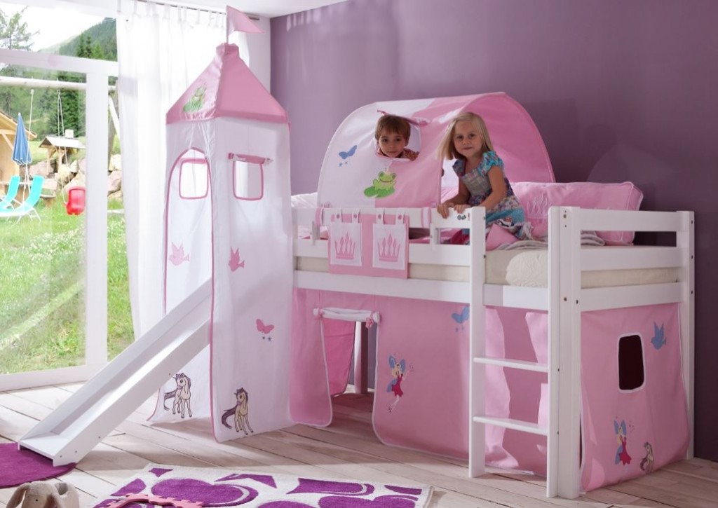 hochbett alex kinderbett mit rutsche spielbett bett wei stoffset prinzessin kids teens betten. Black Bedroom Furniture Sets. Home Design Ideas