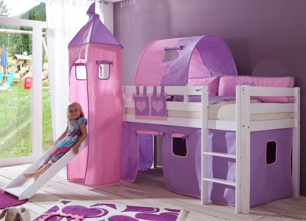 hochbett alex kinderbett mit rutsche spielbett bett wei stoffset lila rosa kids teens betten. Black Bedroom Furniture Sets. Home Design Ideas