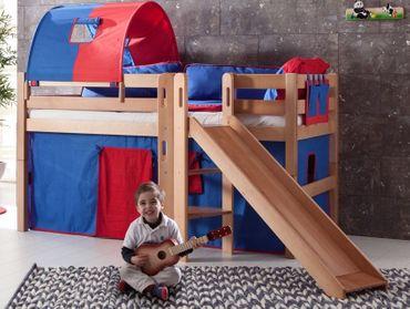 Hochbett ELIYAS Kinderbett mit Rutsche Spielbett Bett Natur Stoffset Blau/Rot