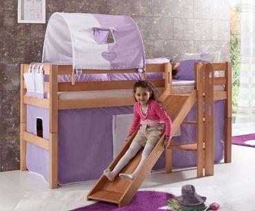 Hochbett ELIYAS Kinderbett mit Rutsche Spielbett Bett Natur Stoffset Lila/Weiß