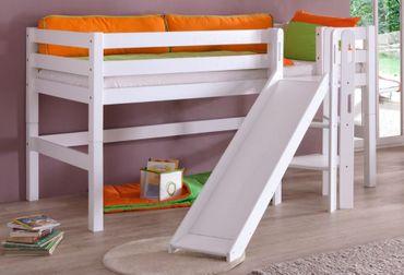 Hochbett ELIYAS Kinderbett mit Rutsche Spielbett Bett Weiß – Bild 1