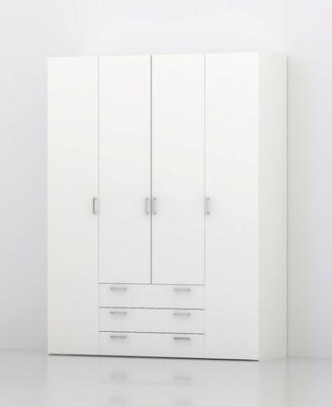 Kleiderschrank SPACE Schrank Türenschrank Weiß  – Bild 1