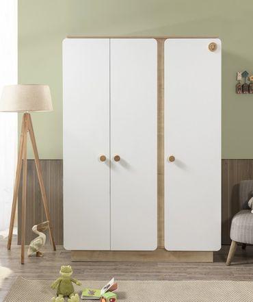 Cilek NATURA BABY Kleiderschrank Schrank Kinderzimmer Weiß/Natur – Bild 1