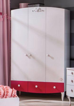 Cilek YAKUT Kleiderschrank Schrank Kinderkleiderschrank Weiß/Pink – Bild 1