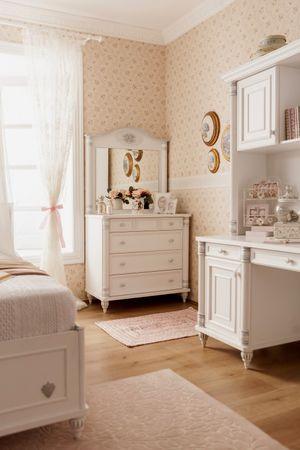 Cilek ROMANTIC Kommode mit Spiegel Anrichte Sideboard Weiß – Bild 2