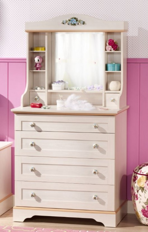 cilek flora kommode mit spiegel anrichte sideboard kinderzimmer birke hell kids teens regale. Black Bedroom Furniture Sets. Home Design Ideas