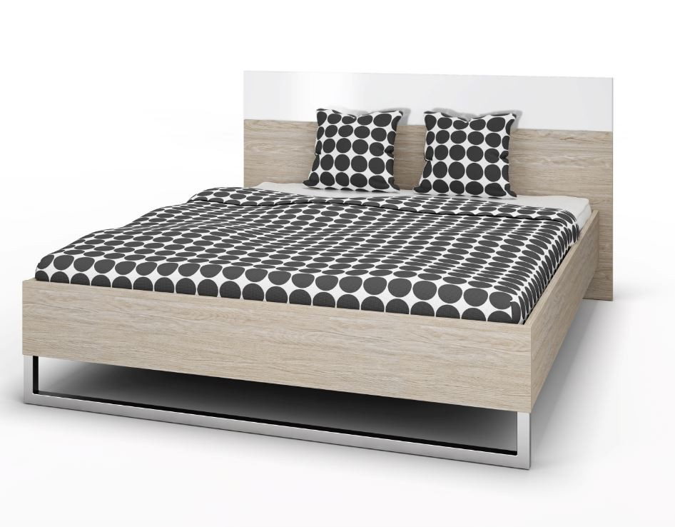 bettgestell style bett 160 x 200 cm eiche struktur schlafen betten. Black Bedroom Furniture Sets. Home Design Ideas