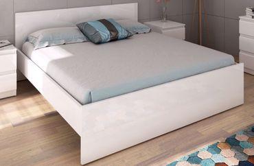 Bettgestell NAIA Bett 140 x 190 cm Weiß Hochglanz – Bild 1