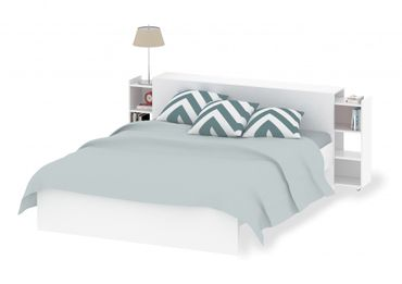 Bettgestell NAIA Bett 160 x 200 cm Schlafzimmer Weiß Hochglanz – Bild 1