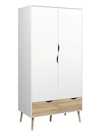 Kleiderschrank OSLO Türenschrank Schrank Weiß / Eiche Struktur – Bild 1