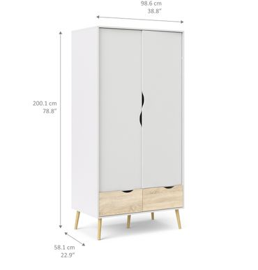 Kleiderschrank OSLO Türenschrank Schrank Weiß / Eiche Struktur – Bild 7