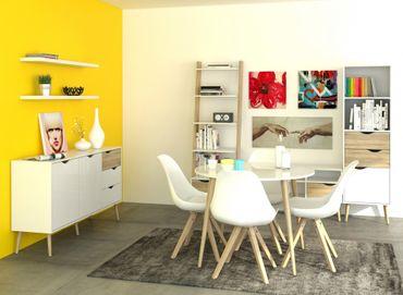 Wohnzimmer OSLO Komplettset Esszimmer Set Weiß / Eiche Struktur – Bild 1